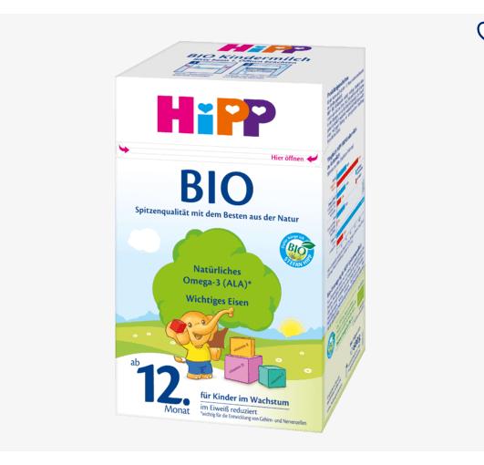 德国喜宝常规有机奶粉12+段 1-6岁 600g
